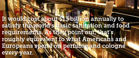 It would cost about $13 billion annually to satisfy the world's basic sanitation and food requirements. As they point out, that's roughly equivalent to what Americans and Europeans spend on perfume and cologne every year