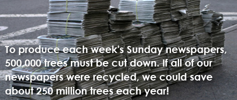 To produce each week's Sunday newspapers, 500,000 trees must be cut down. If all of our newspapers were recycled, we could save about 250 million trees each year