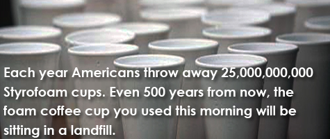 Each year Americans throw away 25,000,000,000 Styrofoam cups. Even 500 years from now, the foam coffee cup you used this morning will be sitting in a landfill.